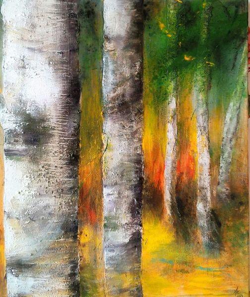 Herbst, Abstrakt, Mischtechnik, Malerei, Natur, Acrylmalerei
