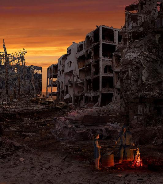 Digitale malerei, Finsteres zeitalter, Blender, Apokalypse, Hoffnung, Dystopian landscape