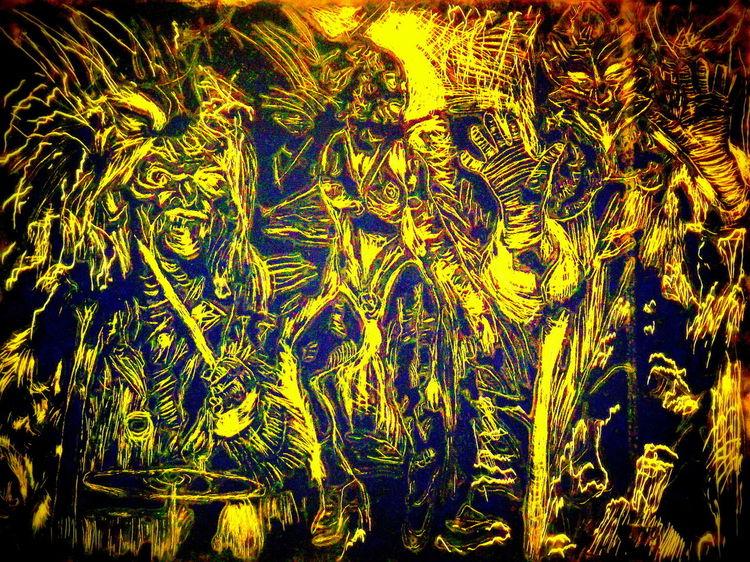 Gegenwartskunst, Kaltnadelradierung, Expressiver realismus, Mischtechnik, Druckgrafik, Chaos
