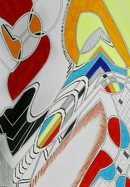 Gelb, Bschoeni, Abstrakt, Blau, Rund, Rot