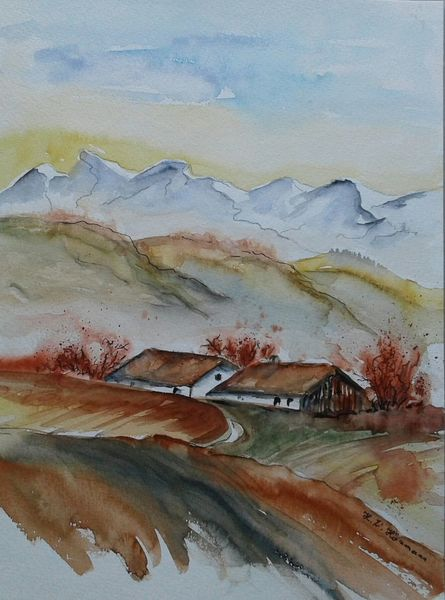 Berge, Häuser, Feld, Herbst, Aquarell, Bergen