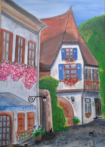 Franken land, Sommertag, Dorf, Weinkeller, Malerei