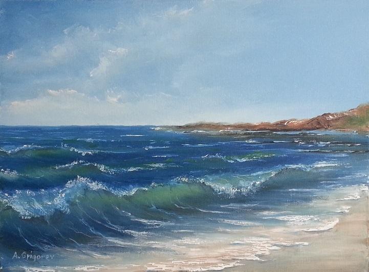 Landschaft, Sommer, Welle, Strand, Malerei, Meer