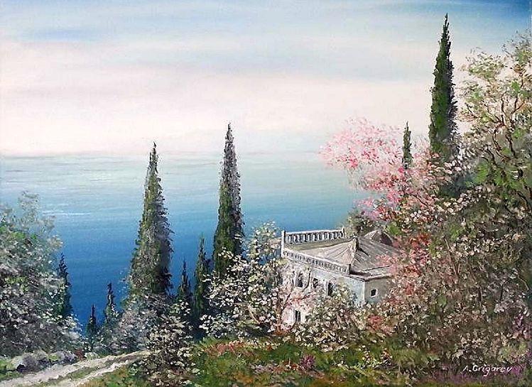 Malerei, Landschaft, Meer, Natur, Sommer