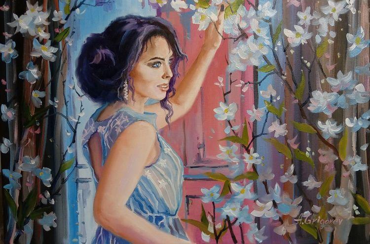 Blumen, Ölmalerei, Sonne, Zeichnung, Frühling, Malerei