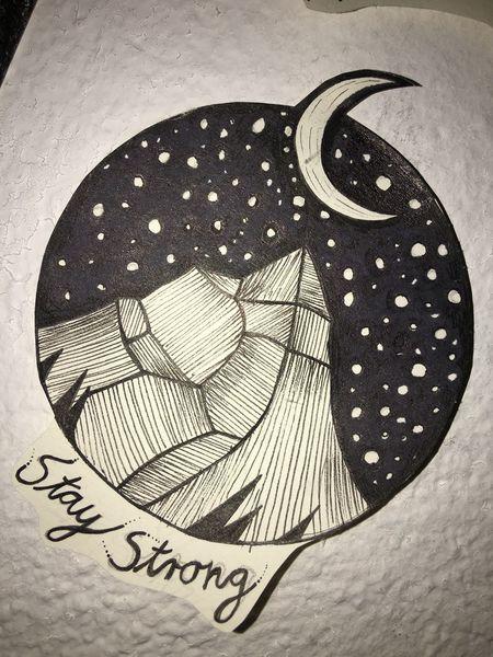 Mond, Berge, Stern, Galaxie, Zeichnungen