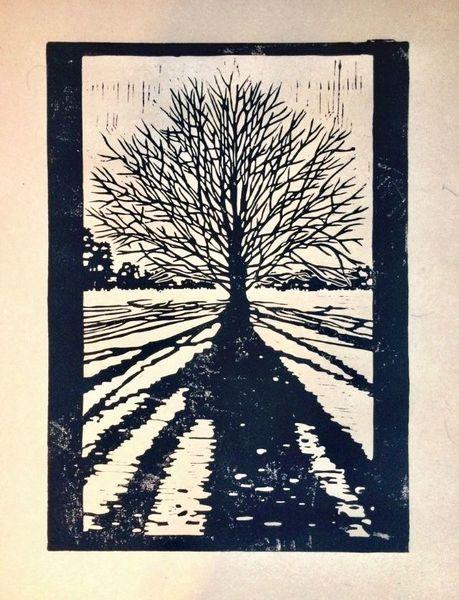 Allein, Nebenbeigekritzel, Baum, Jahreszeiten, Linolschnitt, Licht und schatten