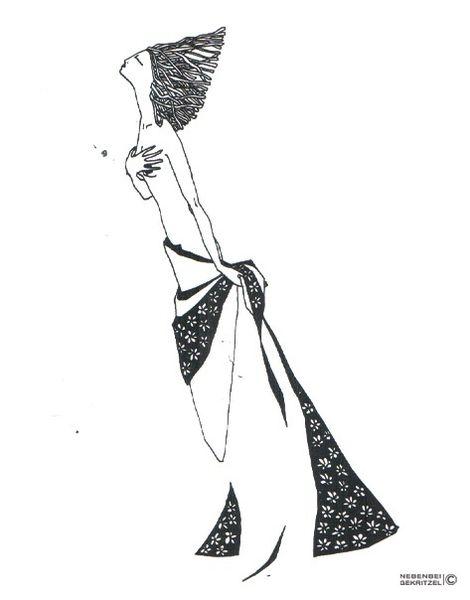 Frau, Dreads, Wind, Nebenbeigekritzel, Illustrationen,