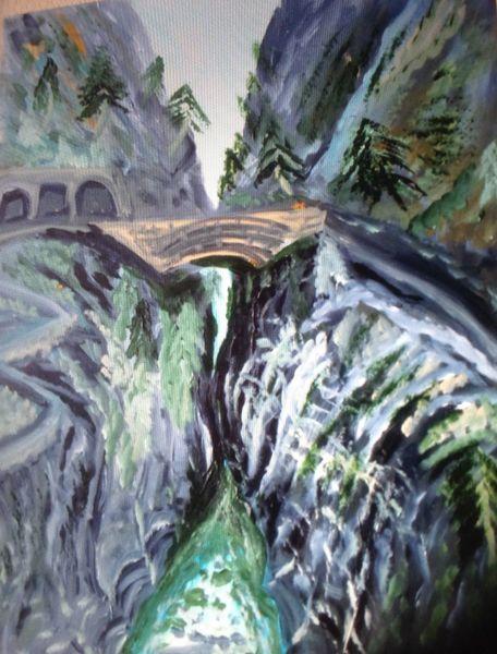 Grau, Berge, Wasser, Baum, Grün, Malerei