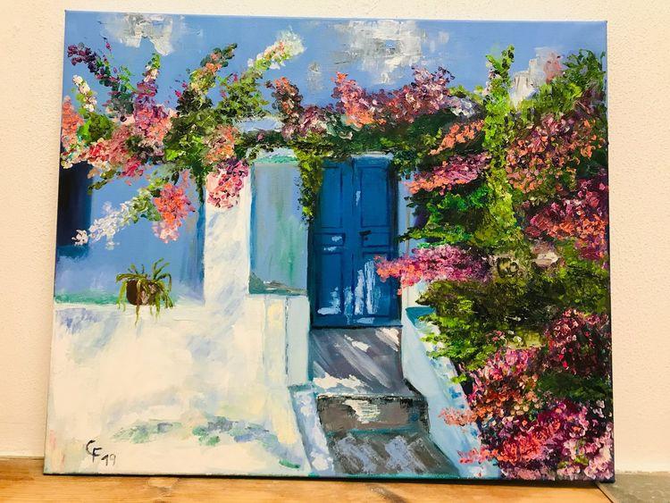 Tür, Blau, Blumen, Griechenland, Ölmalerei, Malerei