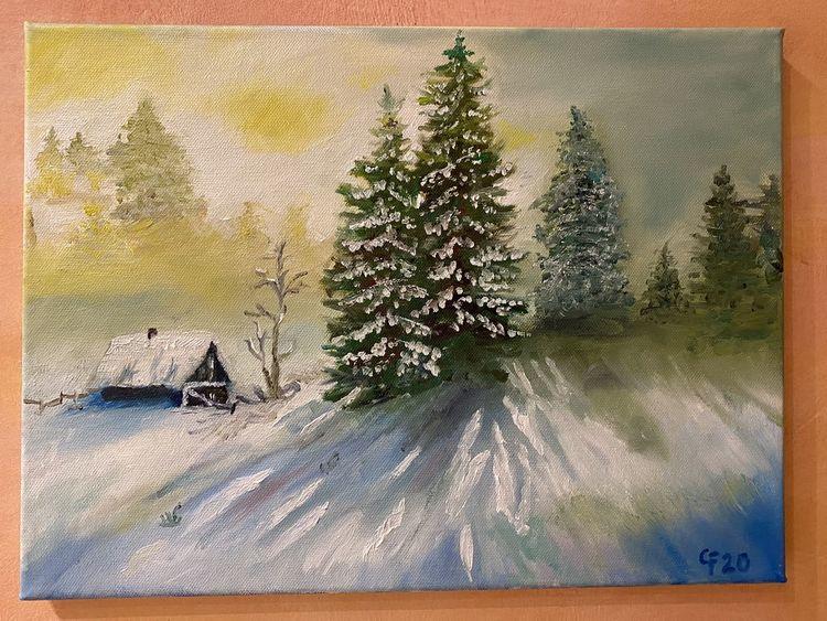 Winter, Ölmalerei, Schnee, Sonne, Wald, Malerei