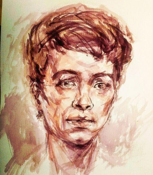 Skizze, Portrait, Wasserfarben, Aquarell