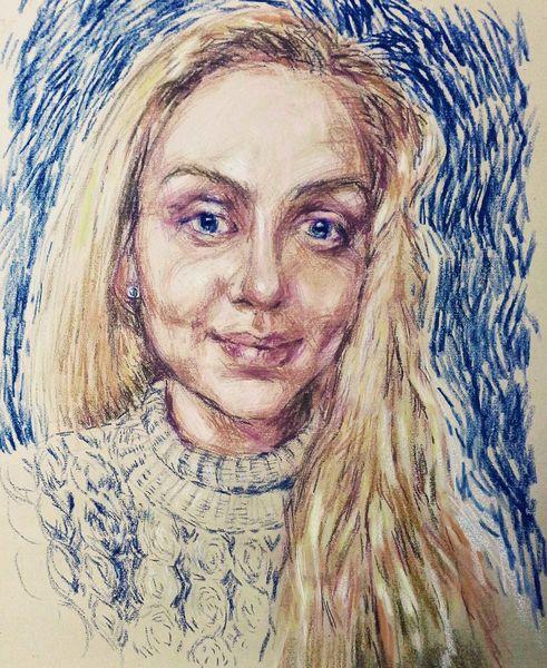Portrait, Zeichnung, Pastellmalerei, Zeichnungen, Skizze
