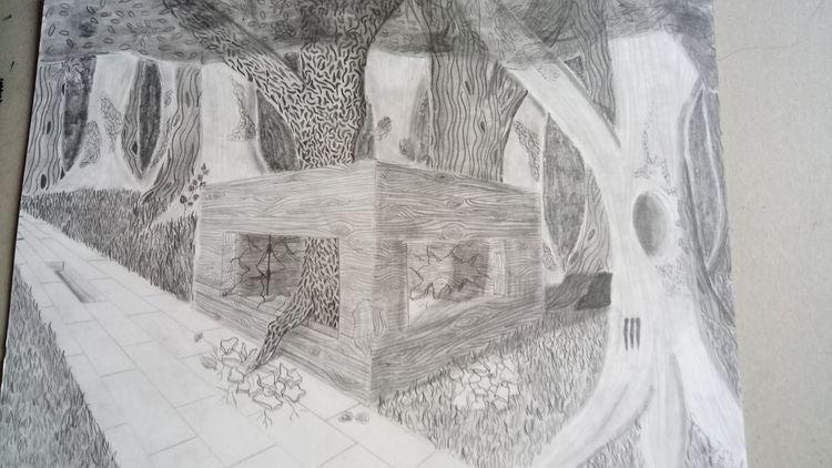 Gebäude, Natur, Zerstörung, Zeichnungen