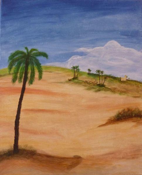 Natur, Wüste, Palmen, Landschaft, Afrika, Malerei