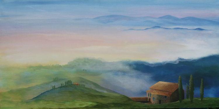 Toskana, Landschaft, Dämmerung, Acrylmalerei, Malerei,