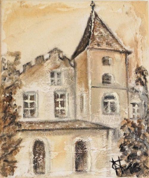 Spachteltechnik, Acrylmalerei, Warm, Burg, Strukturpaste, Architektur