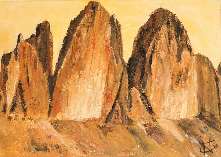 Acrylmalerei, Malerei, Licht, Strukturpaste, Gipfel, Berge