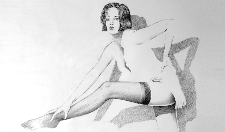 Portrait, Bluse, Zeichnung, Hemd, Mädchen, Bein