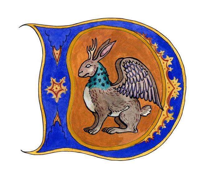 Buchstaben, Mittelalter, Initialen, Aquarellmalerei, Tiere, Gouachemalerei