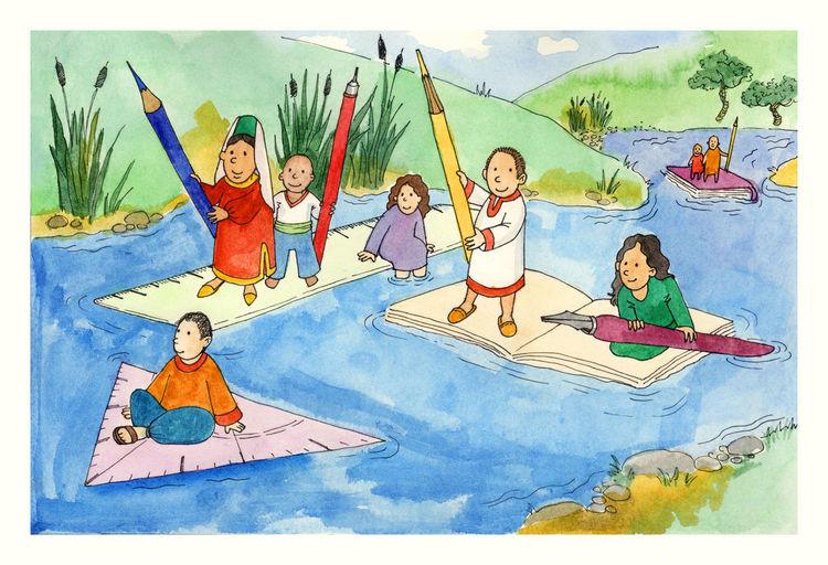 Fließen, Kinder, Landschaft, Fluss, Schule, Zeichnung