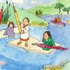Kinder, Landschaft, Fluss, Schule