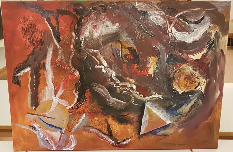 Acrylmalerei, Gelb, Abstrakt, Braun, Struktur, Rot