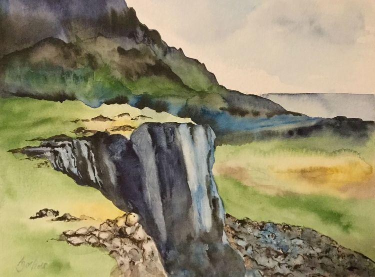 Schottland, Aquarellmalerei, Berge, Felsen, Highlands, Wiese