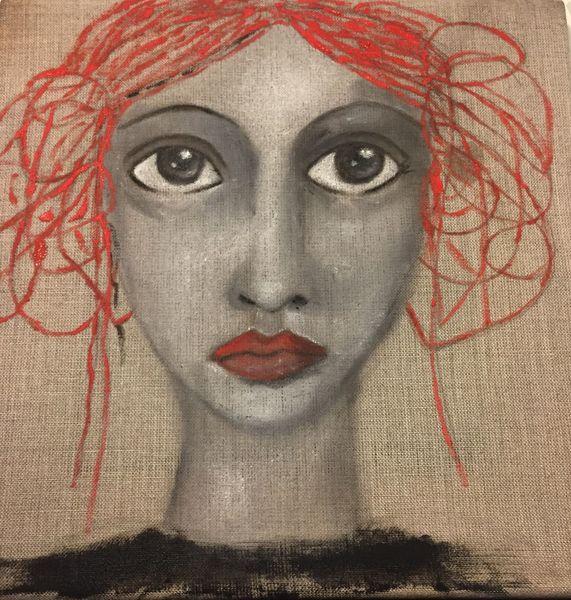 Pigmente auf leinen, Frau, Göttin sarasvati, Malerei