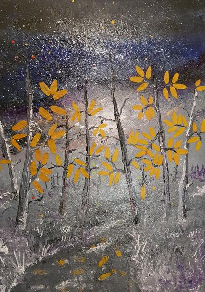 Mischtechnik, Malerei, Baum, Natur, Surreal
