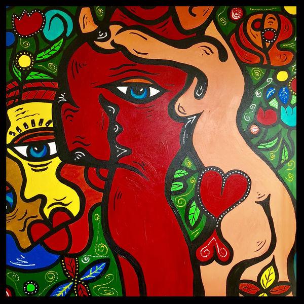 Frau, Mann, Malerei, Abstrakt, Körper