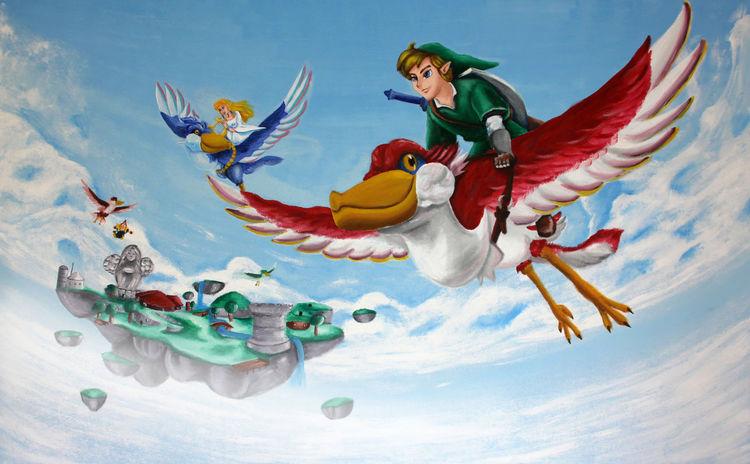 Wolken, Junge, Freunde, Vogel, Mädchen, Acrylmalerei