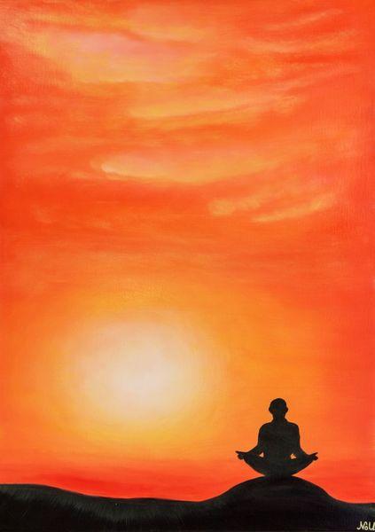 Orange, Sonnenuntergang, Morgenröte, Berge, Meditation, Landschaft