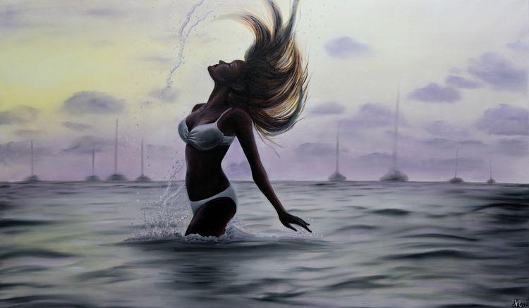 Meer, Sonnenuntergang, Wasser, Romantisch, Haare, Badeanzug