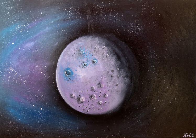 Sonnensystem, Weltall, Universum, Ölmalerei, Mond, Himmelskörper