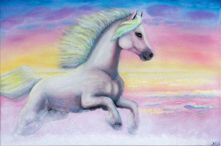 Weiß, Sonnenuntergang, Pferde, Meer, Wasser, Malerei