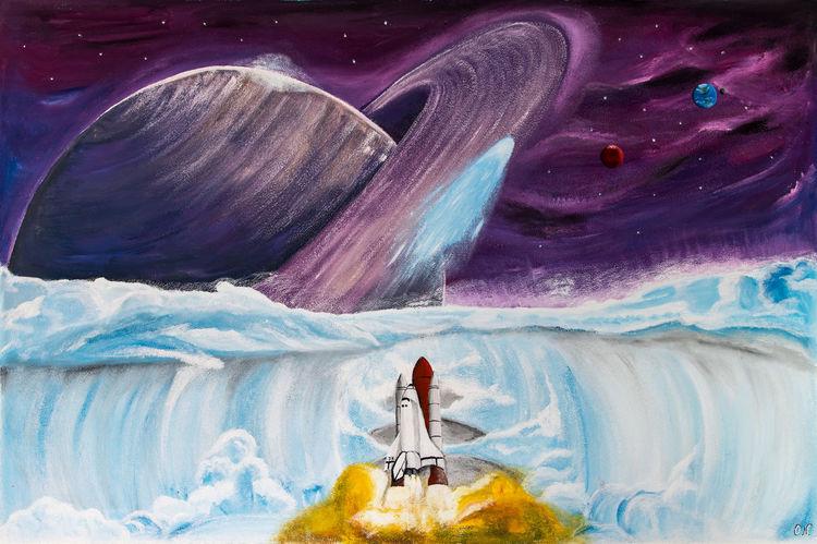 Saturn, Wolken, Sonnensystem, Raumschiff, Weltall, Spaceshuttle