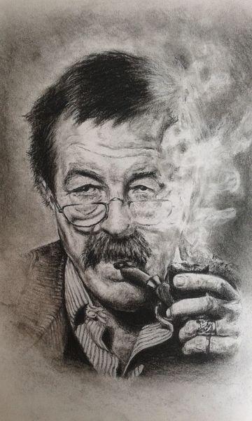 Portrait, Günter grass, Kohlezeichnung, Zeichnungen