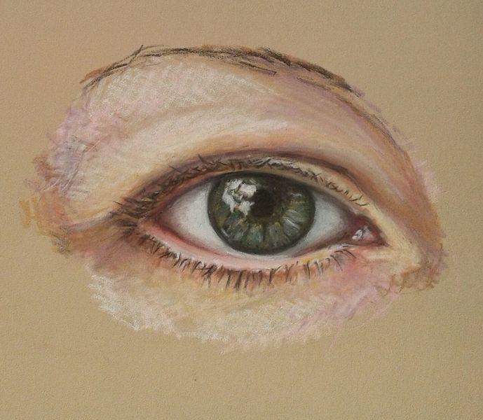 Pastellmalerei, Augen, Zeichnungen, Spiegel, Blick