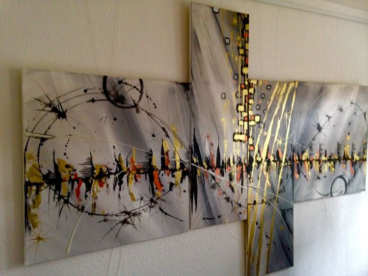 Acrylmalerei, Grau, Wasser, Skyline, Kupfer, Schwarz
