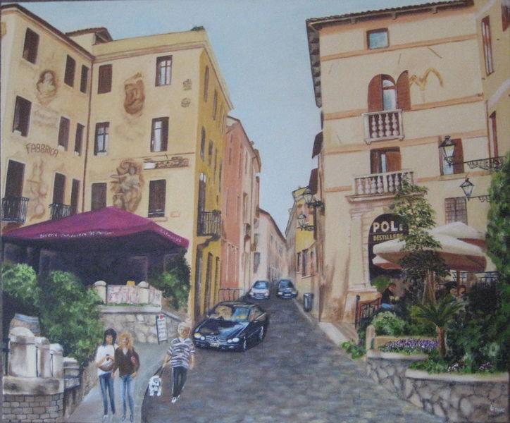Destillerie, Bassano, Italien, Gasse, Grappa, Malerei