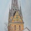 Kirche, Architektur, Aquarellmalerei, Turm