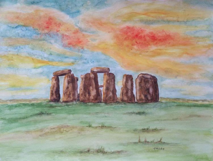 Spirituellemalerei, Aquarellmalerei, Wolken, Stonehenge, Stein, Steinkreis