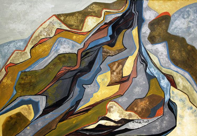 Felsenlandschaft, Zauberberg 2, Acrylmalerei, Malerei, 2013,