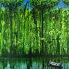Boot, Spiegelung, Wasser, Acrylmalerei