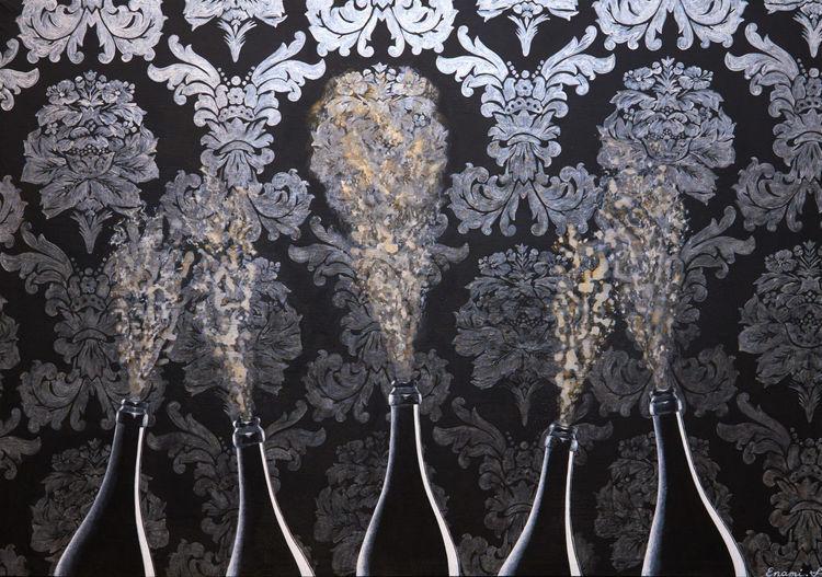 Gold, Weinflasche, Stillleben, Barock, Acrylmalerei, Fest