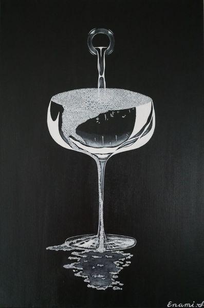 Acrylmalerei, Sekt, Weinflasche, Champagner, Stillleben, Wein