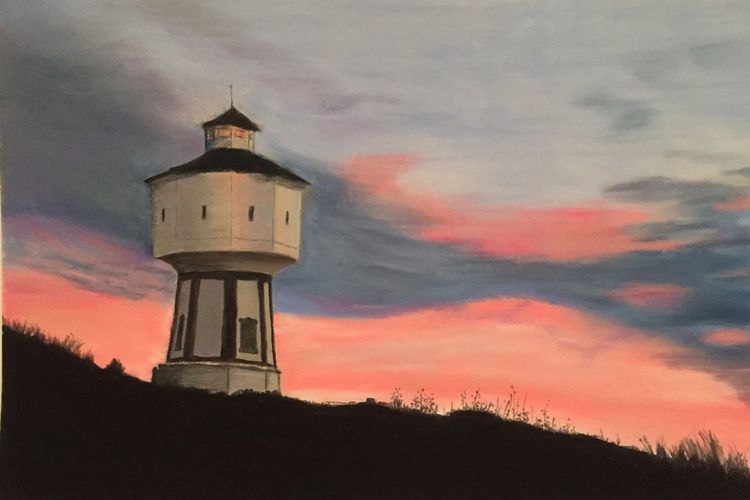 Wasserturm, Sonnenuntergang, Langeoog, Malerei