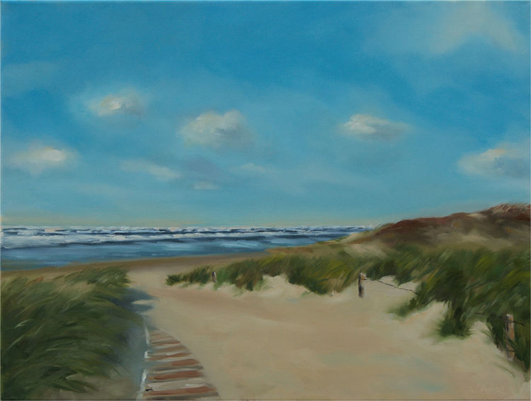Landschaftsmalerei, Welle, Gras, Küste, Licht, Himmel
