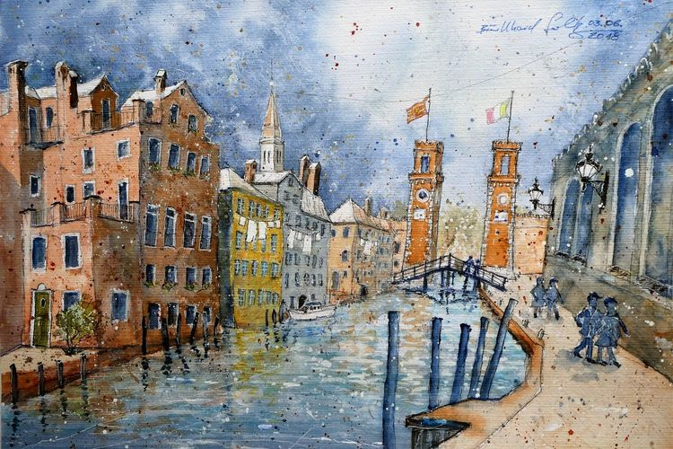 Arsenal, Aquarellmalerei, Italien, Venedig, Aquarell